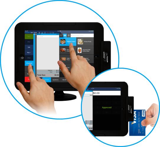 iPad card reader, iPad POS software, iPad POS for restaurants, touchscreen POS, credit card processing iPad